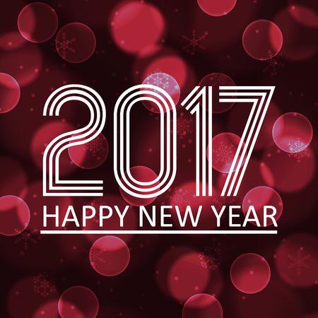 pf: happy new year 2017 on dark bokeh circle background eps10 Illustration