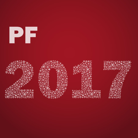 pf: red happy new year pf 2017 from little snowflakes eps10