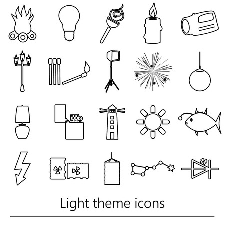 light source: light theme modern simple black outline icons light source eps10 Illustration