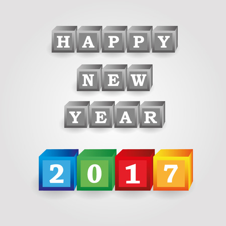 pf: happy new year 2017 message from gray and color bricks with numbers eps10