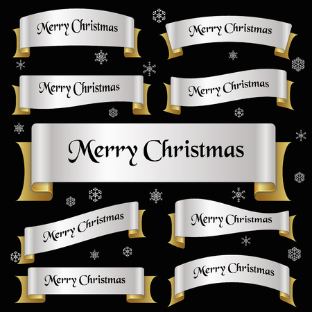 curved ribbon: silver and gold color merry christmas slogan curved ribbon banners eps10