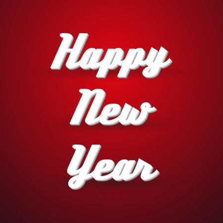 catchword: happy new year holidays modern paper like text message on red background eps10 Illustration