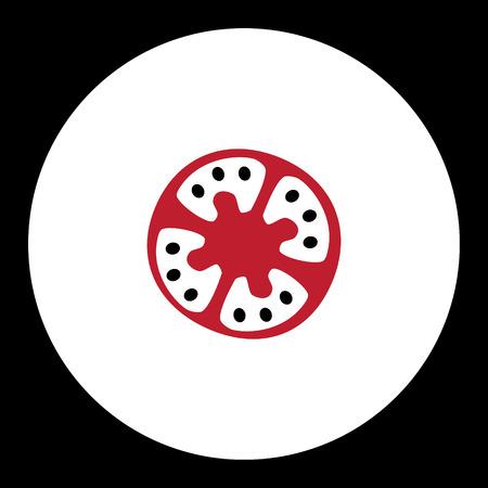 tomato slice: black and red simple tomato slice isolated icon