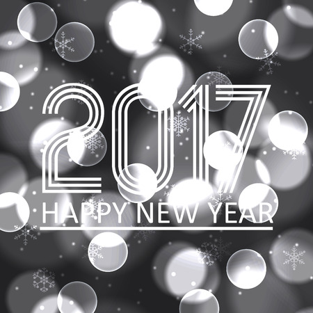 pf: happy new year 2017 on grayscale bokeh circle background Illustration