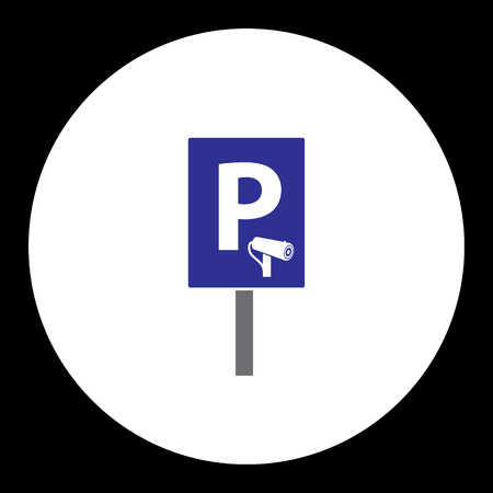 blue road sign for guarded car parking simple isolated icon