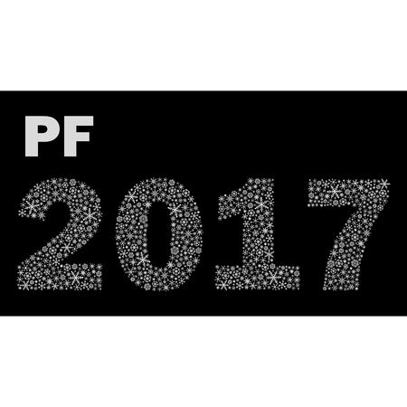 pf: black and white happy new year pf 2017 from little snowflakes