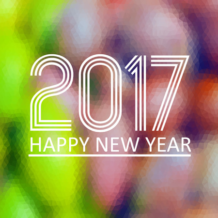 happy new year 2017 on fuzzy multicolor low polygon gradient graphic background
