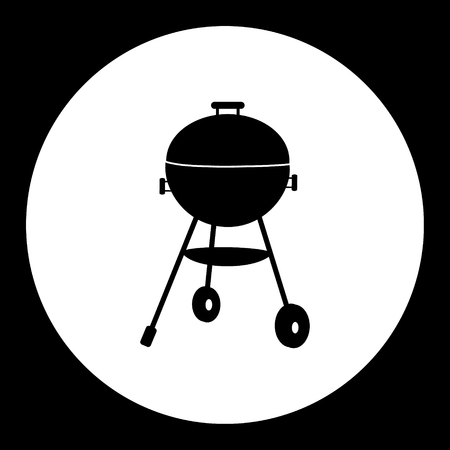home garden: black simple home garden grill isolated icon Illustration