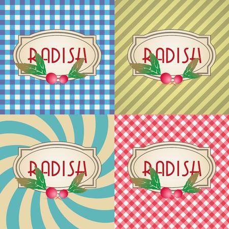 radish: four types of retro textured labels for radish