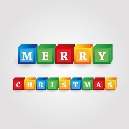 merry christmas message from color bricks with numbers Illustration