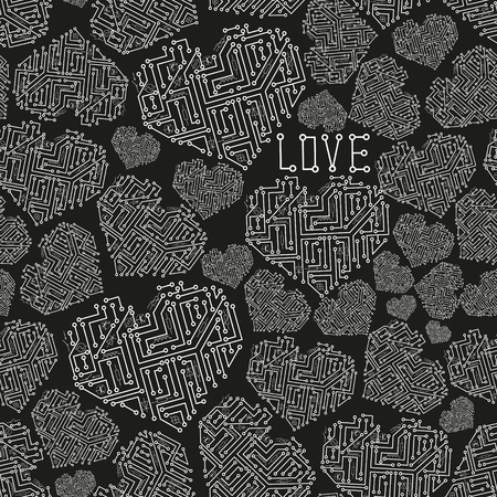conductor electricity: black and white electrical circuit board heart symbol seamless pattern