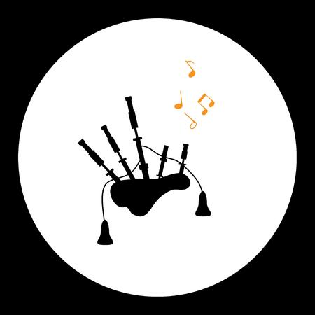 bagpipes: aislados gaitas simples negras de instrumentos musicales