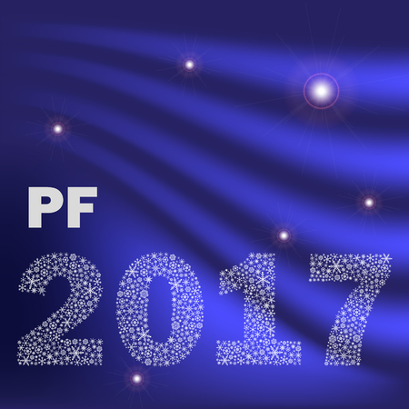 pf: blue shiny curved happy new year pf 2017 from little snowflakes Illustration