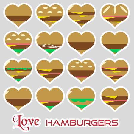bacon love: colorful hearts hamburgers styles simple stickers icons