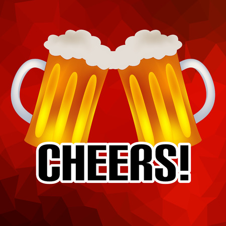 beers: cheers banner with two tasty beers abstract low polygon background