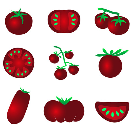 frites: red color tomatoes simple icons set