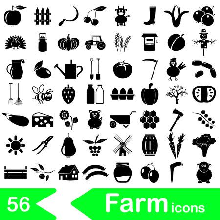 farm and farming big simple icons set