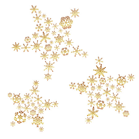 shiny gold color stars from little snowflakes winter or christmas theme decoration  イラスト・ベクター素材