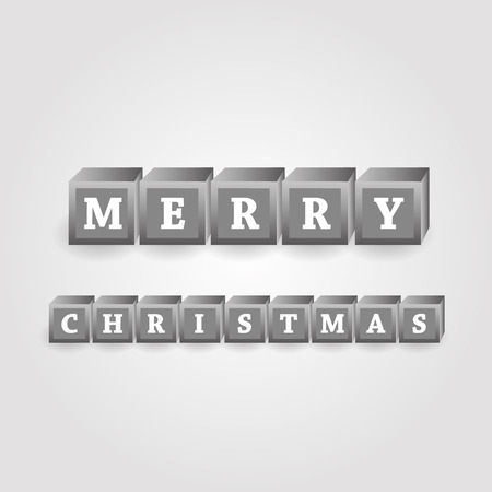 merry christmas message from grayscale bricks with numbers