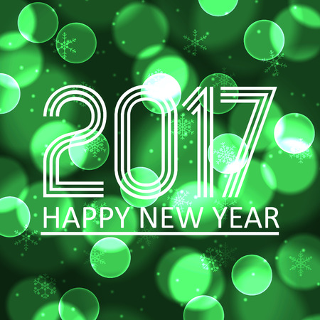 pf: happy new year 2017 on green bokeh circle background