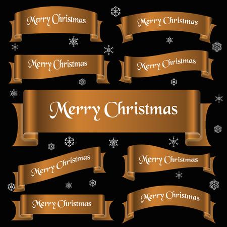 eslogan: bronce brillante de color alegres lema de la navidad banderas de la cinta curvada Vectores