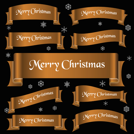 curved ribbon: bronze shiny color merry christmas slogan curved ribbon banners