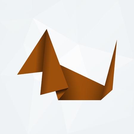 od: brown simple paper origami dog od white paper background Illustration