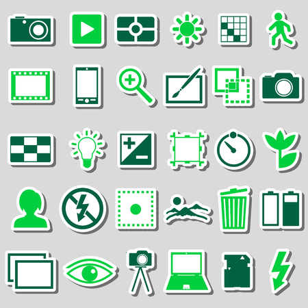 auto focus: photography and camera theme color simple icons stickers set Illustration