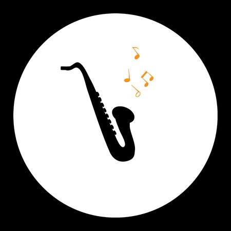 black simple isolated saxophone musical instrument Illustration