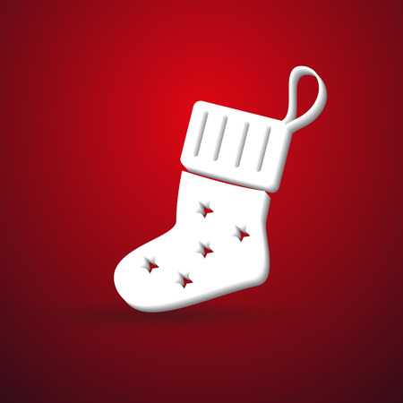 sock: christmas winter sock modern paper like symbol on red background Illustration