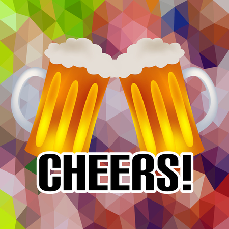 beers: cheers banner with two tasty beers abstract low polygon triangle background