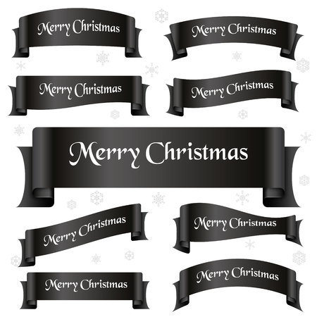 shiny black: black shiny color merry christmas slogan curved ribbon banners