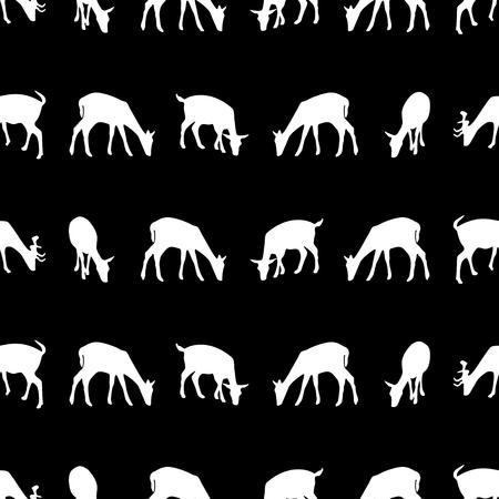 huntsman: feeding fallow deer silhouette of animal dark seamless pattern