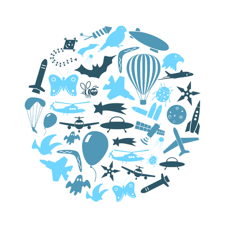 flying theme blue symbols and icons set in circle Illustration