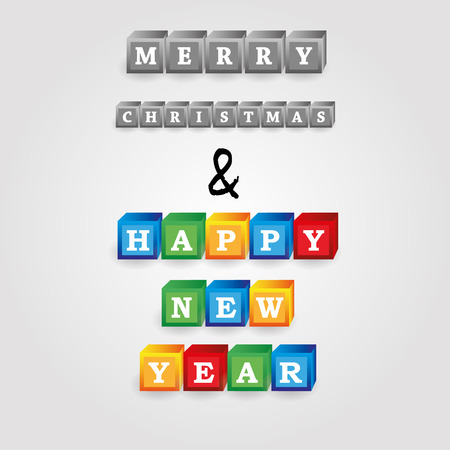 merry christmas and happy new year message from bricks with numbers
