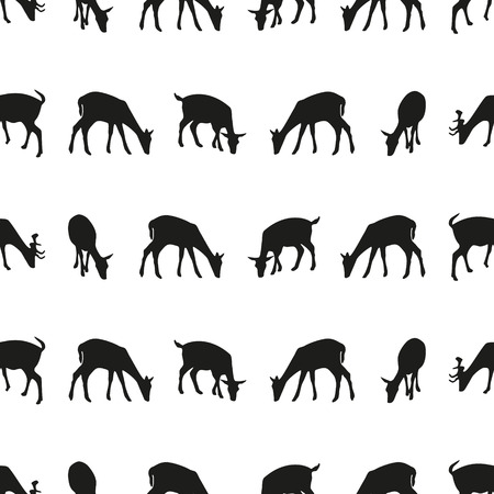 animal silhouettes: feeding fallow deer silhouette of animal seamless pattern Illustration