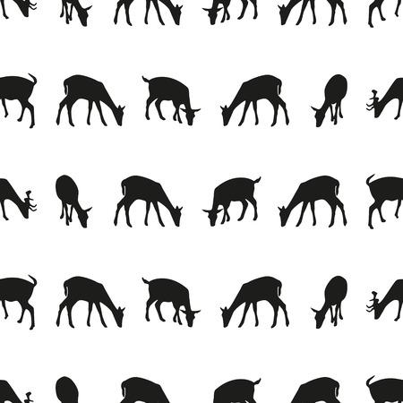 feeding fallow deer silhouette of animal seamless pattern Illustration