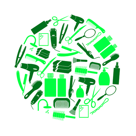 hair care theme green color simple icons in circle Illustration