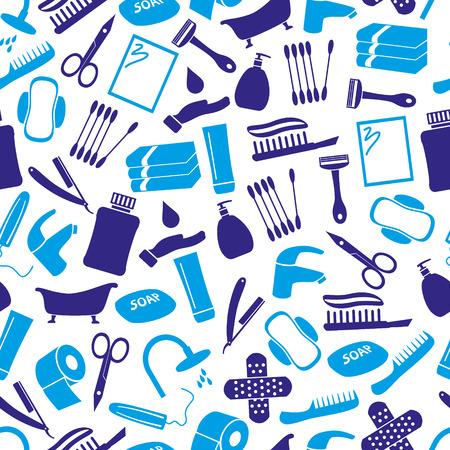 tampon: hygiene theme modern simple blue icons seamless pattern Illustration