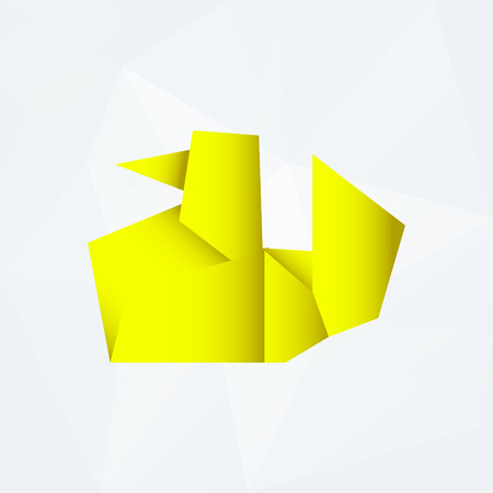 od: yellow simple paper origami duck od white paper background