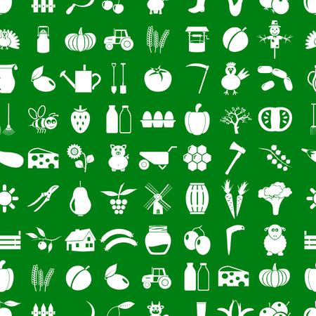 farm and farming simple icons set vector seamless pattern Illusztráció