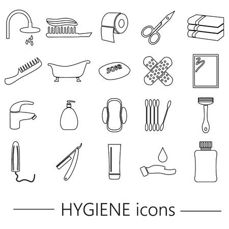 tampon: hygiene theme modern simple black outline icons set