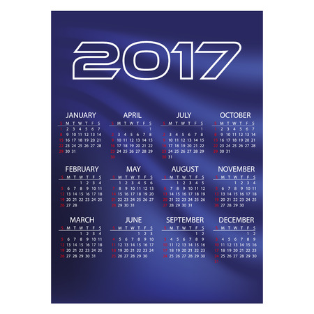 january 1: 2017 simple business wall calendar blue color abstract background