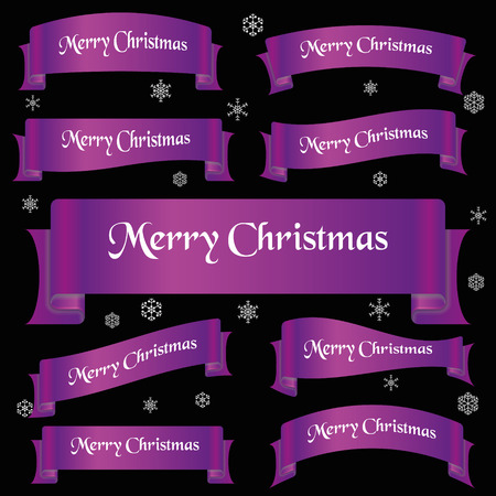 slogan: violet shiny color merry christmas slogan curved ribbon banners