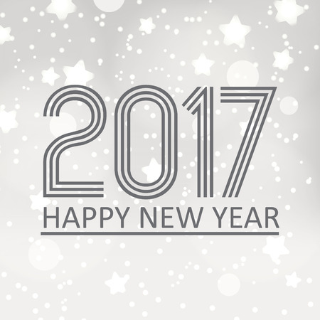 pf: happy new year 2017 on gray silver bokeh background with stars and snow Illustration