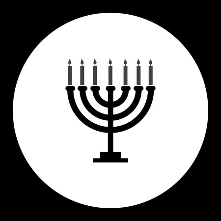 jewish: black isolated Jewish candelabrum with seven candles