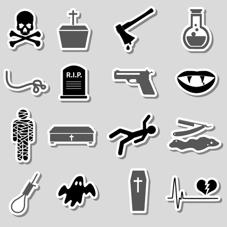 slaughter: death theme set of vector black simple stickers Illustration