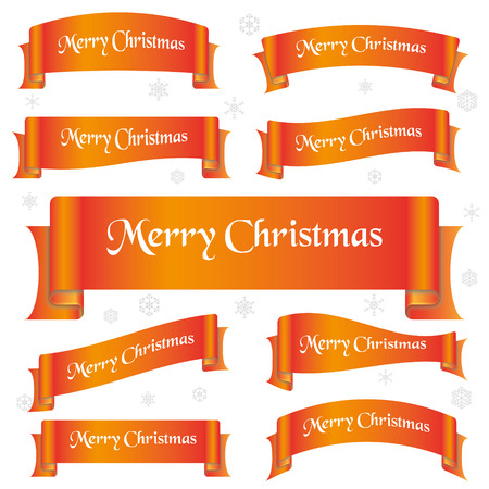 curved ribbon: orange shiny color merry christmas slogan curved ribbon banners Illustration