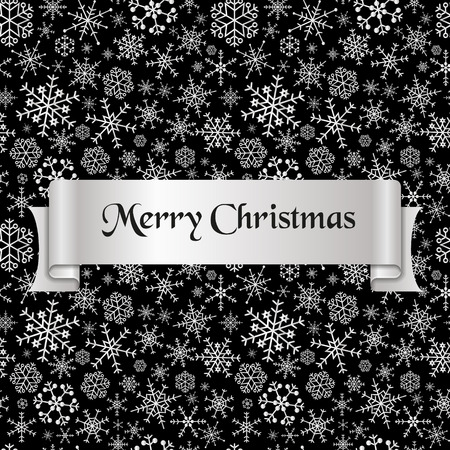 black and silver: merry christmas with silver winter snowflakes pattern Illustration