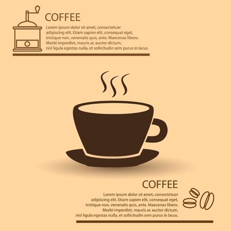 coffee cup simple brown infographics theme Illustration
